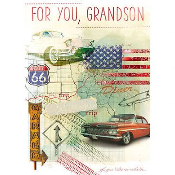 "GRANDSON BIRTHDAY CARD ""VINTAGE US CARS & ROUTE 66"" SIZE 8"" x 5.75""  IRJJ 0055"